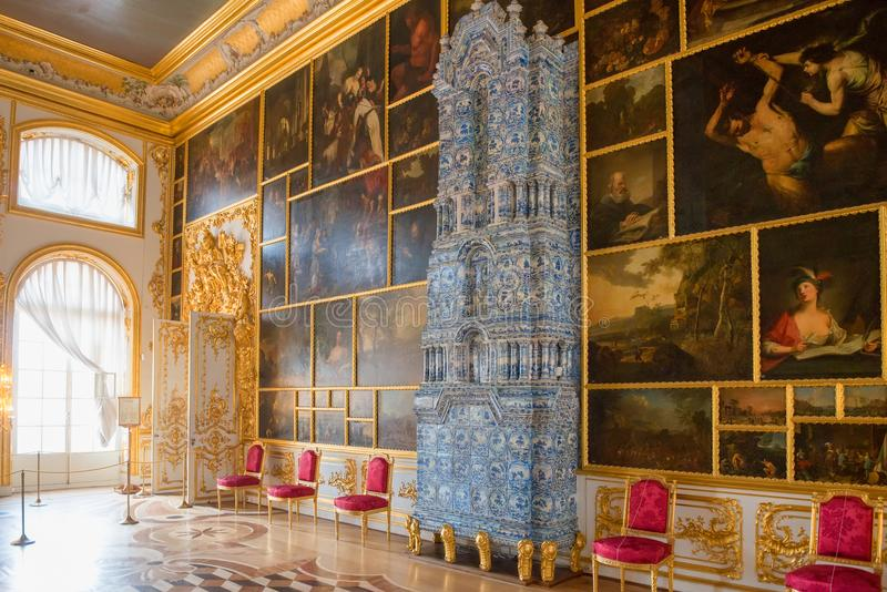 Picture hall with fireplace. ST.PETERSBURG, RUSSIA - AUGUST 19, 2017: A fragment of the Picture hall of the Catherine Palace. Tsarskoe Selo Pushkin, St stock photo