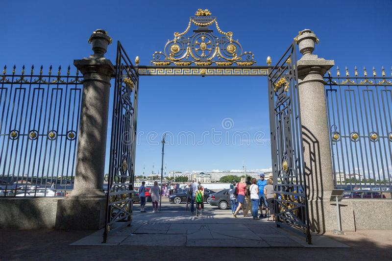 Gate, entrance to the Summer Garden from the Palace Embankment in St. Petersburg stock photo