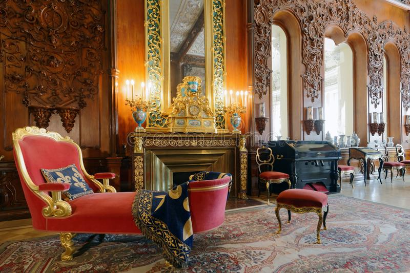 Musical drawing room of Yusupov palace in St. Petersburg, Russia stock photography