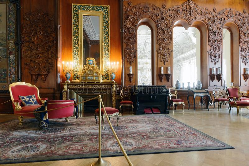 Musical drawing room of Yusupov palace in St. Petersburg, Russia royalty free stock photography