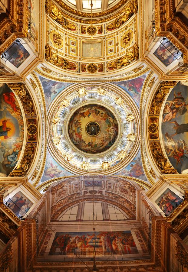 St Petersburg, Russia - August 5, 2018. Interior of the St Isaac Cathedral in St Petersburg, Russia. Inside view of beautiful. Interior decorations royalty free stock photos