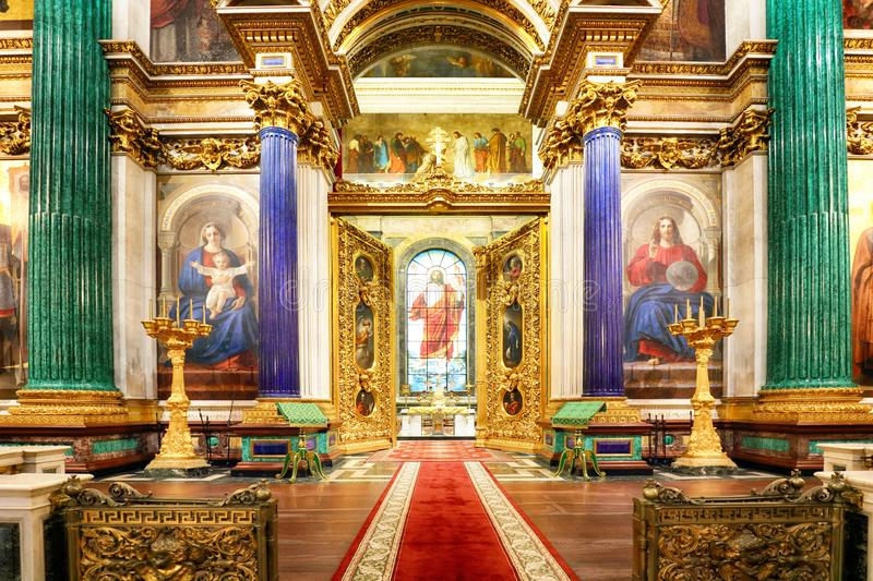 St Petersburg, Russia - August 5, 2018. Interior of the St Isaac Cathedral in St Petersburg, Russia. Inside view of beautiful. Interior decorations stock photo