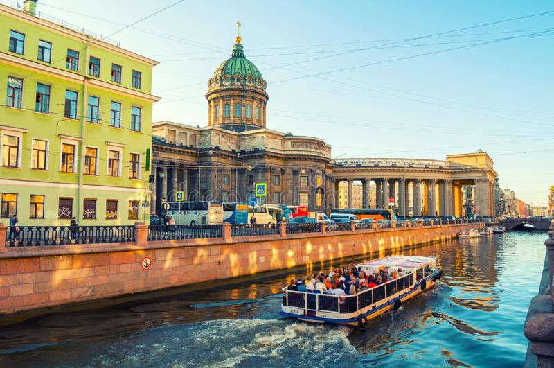 Kazan cathedral and Griboedov channel in St Petersburg, Russia - city landscape of St Petersburg stock photo