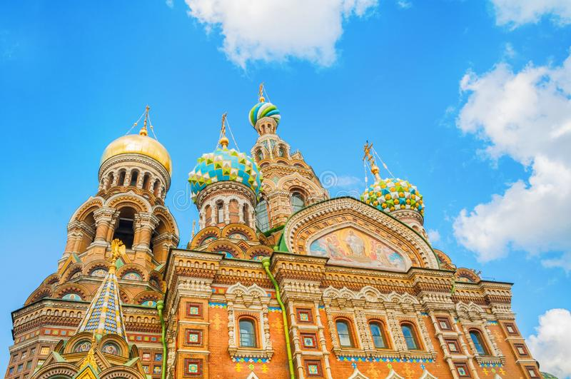 St Petersburg, Russia - Cathedral of Our Savior on Spilled Blood. Closeup of domes and facade architecture details stock photo