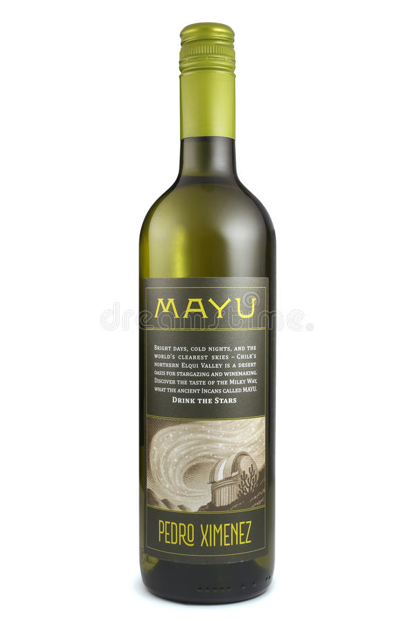 ST. PETERSBURG, RUSSIA - December 26, 2015: Bottle of Mayu Pedro Ximenez, Elqui Valley, Chile stock image