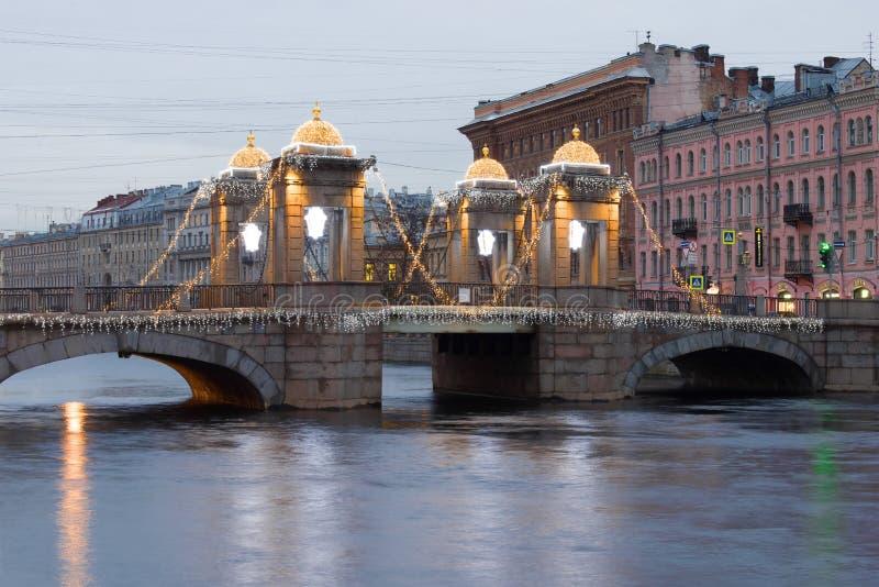 December cloudy morning at the Lomonosov bridge. Saint Petersburg. ST PETERSBURG, RUSSIA - DECEMBER 18, 2017: December cloudy morning at the Lomonosov bridge stock images
