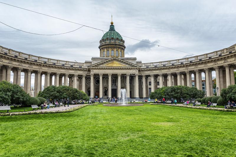St. Petersburg, Russia, 09/03/2017: Exterior of the gallery with a beautiful lawn and a fountain in a large historical city royalty free stock images