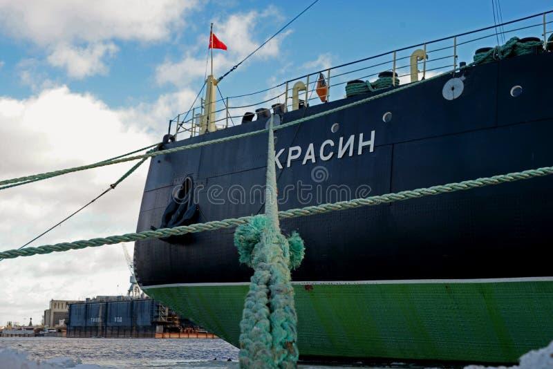 St. Petersburg, Russia - February 17, 2019: Legendary Russian, Soviet icebreaker -Krasin- on the eternal parking. It is royalty free stock photography