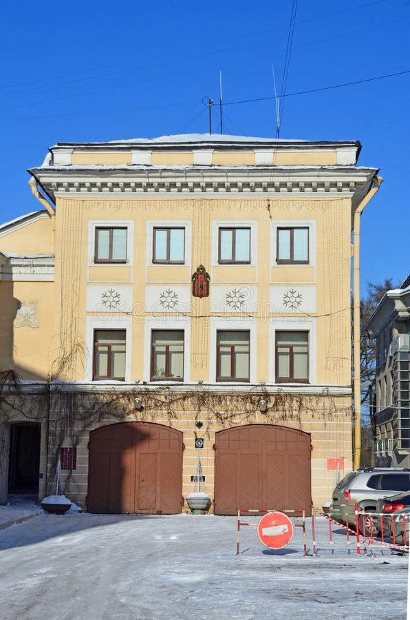 St. Petersburg, Russia, February, 27, 2018. The monument of architecture - firehouse 17, 1906 year built. Garrison club of EMERCOM. St. Petersburg, Russia. The stock photos