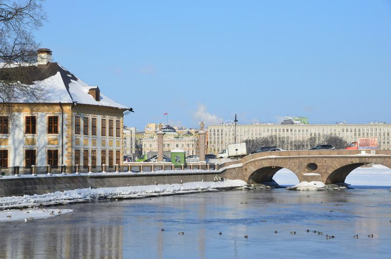 St. Petersburg, Russia, February, 27, 2018. Fragment of the Summer Palace of Peter the Great in St. Petersburg and the Fontanka ri stock photos