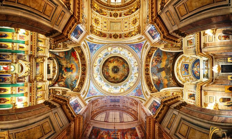 St Petersburg, Russia - Interior of the St Isaac Cathedral in St Petersburg, Russia. Inside view of beautiful. St Petersburg, Russia - August 5, 2018. Interior stock photography