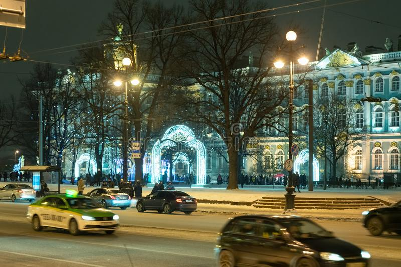 St. Petersburg Russia January 5, 2019 Nevsky prospect decorated with neon lamps. St. Petersburg Russia January 5, 2019 Nevsky prospect is decorated with neon stock image