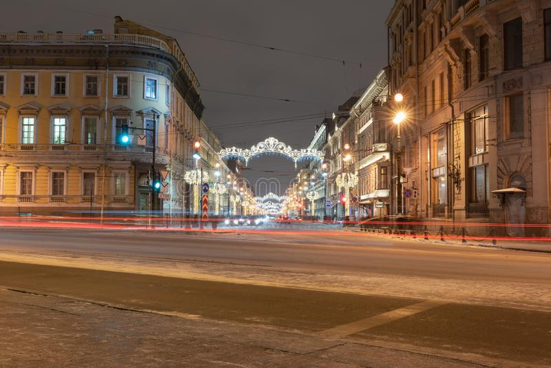St. Petersburg Russia January 5, 2019 Nevsky prospect decorated with neon lamps. St. Petersburg Russia January 5, 2019 Nevsky prospect is decorated with neon royalty free stock photo