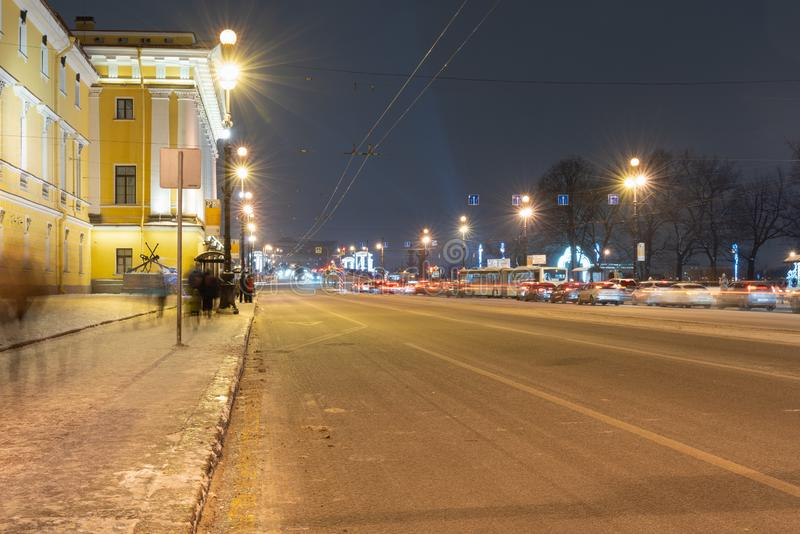 St. Petersburg Russia January 5, 2019 Nevsky prospect decorated with neon lamps. St. Petersburg Russia January 5, 2019 Nevsky prospect is decorated with neon royalty free stock images