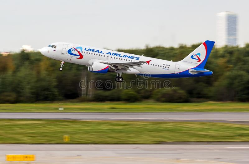 St Petersburg, Russia - 08/16/2018: Jet airliner Airbus A320 `Ural Airlines` VP-BQW in Pulkovo Airport. royalty free stock image