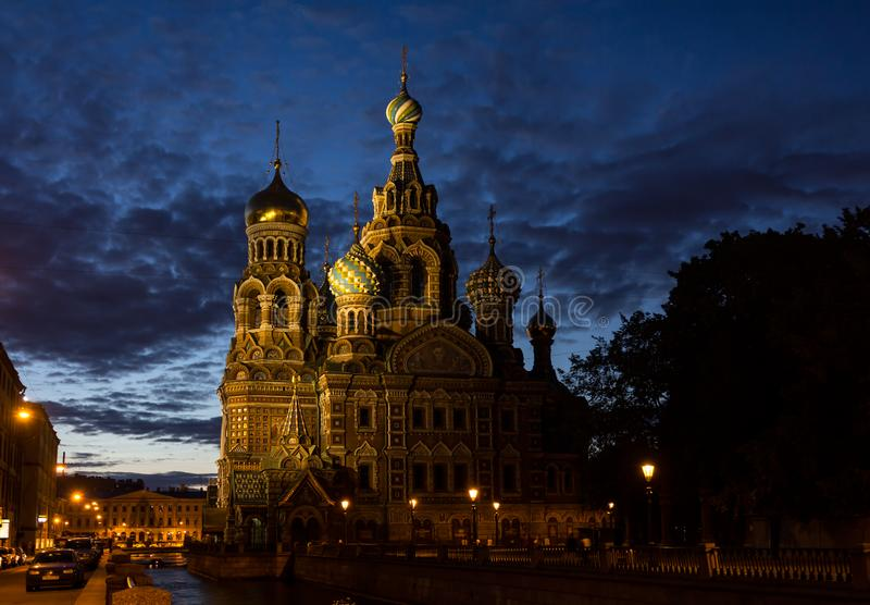 Church of the Savior on the Spilled Blood in White Nights. ST PETERSBURG, RUSSIA - JULY 6, 2012: Church of the Savior on the Spilled Blood in White Nights royalty free stock images