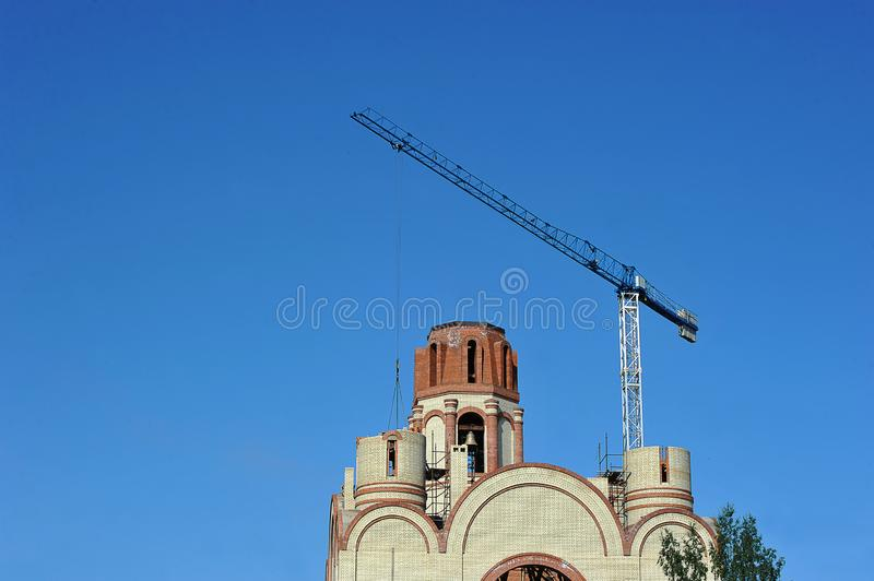 Construction of the Orthodox Church in St. Petersburg royalty free stock photos