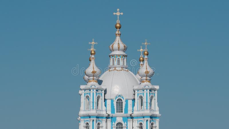 Domes of the Smolny Cathedral in the summer stock image