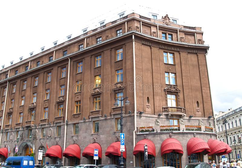 ST. PETERSBURG, RUSSIA. A facade of Astoria hotel with red marquises royalty free stock photo