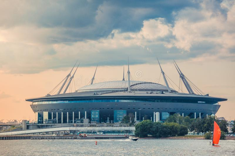ST.PETERSBURG, RUSSIA - JULY 23, 2019 - Gazprom Arena stadium shot from Neva river at sunset. royalty free stock images