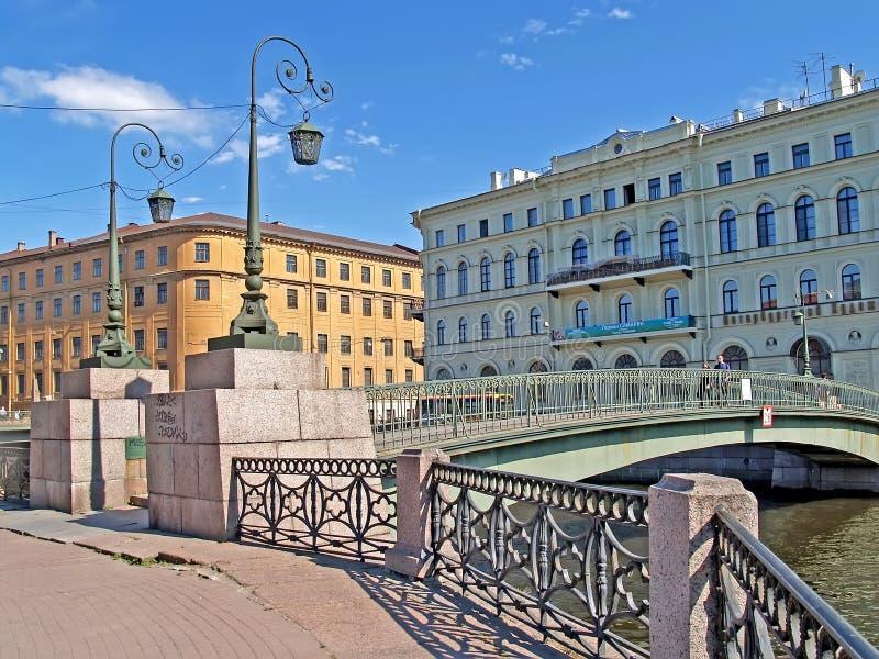 ST. PETERSBURG, RUSSIA. Krasnoflotsky Bridge through the Moika River royalty free stock image