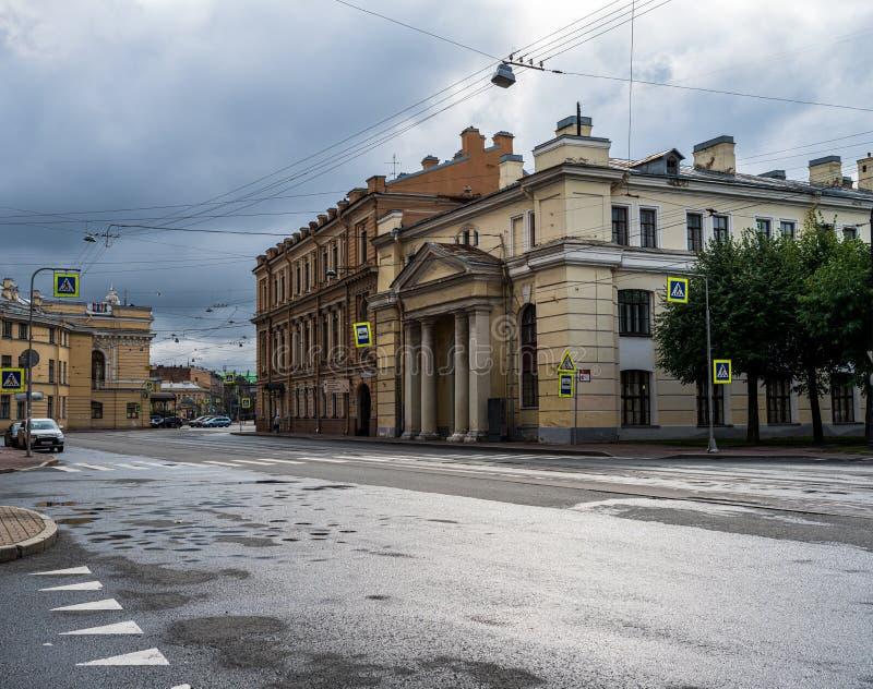 Empty Rainswept Street in St Petersburg stock images
