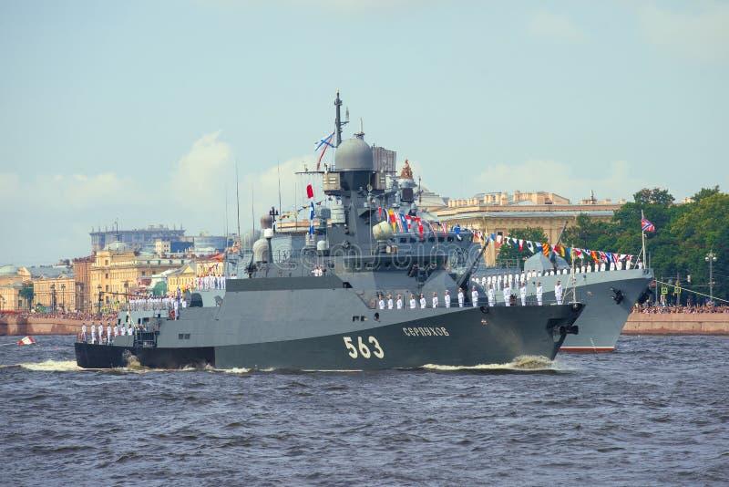 The small rocket  ship Serpukhovparticipates. ST. PETERSBURG, RUSSIA - JULY 30, 2017: The small rocket  ship Serpukhovparticipates in a naval parade in honor of stock photo