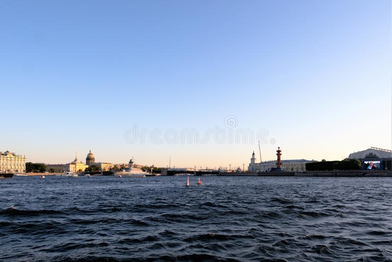 St. Petersburg, Russia, July 2019. View of the city center from the Neva River at sunset. royalty free stock image