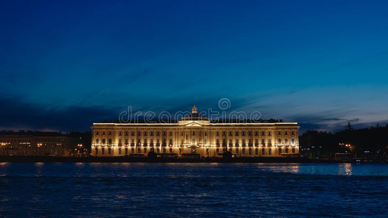 Art Academy and the Neva river in the White nights. ST. PETERSBURG, RUSSIA - JUNE 18, 2017: Art Academy and the Neva river in the White nights stock photography