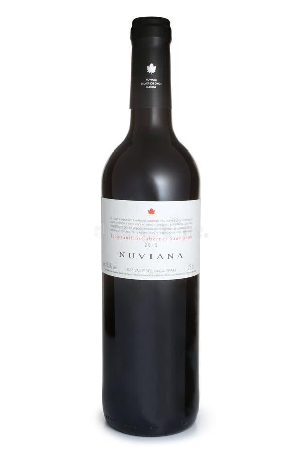 ST. PETERSBURG, RUSSIA - JUNE 18, 2017: Bottle of Nuviana Tempranillo Cabernet Sauvignon, Spain, 2015 stock photos