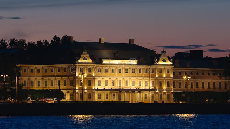 Close shot of the Menshikov Palace in the White nights. ST. PETERSBURG, RUSSIA - JUNE 18, 2017: Close shot of the Menshikov Palace in the White nights stock photo