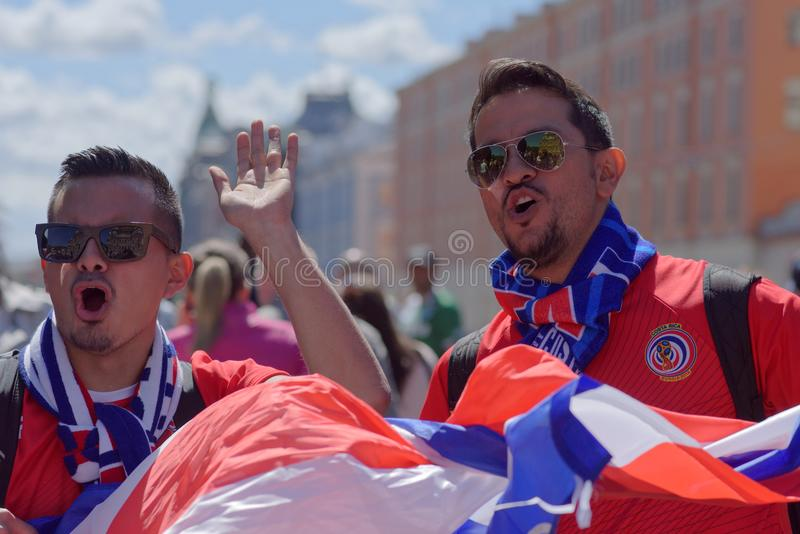 Costa Rican football fans in Saint Petersburg, Russia during FIFA World Cup 2018 royalty free stock photos