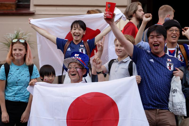 Japanese football fans in Saint Petersburg during FIFA World Cup Russia 2018 royalty free stock photos