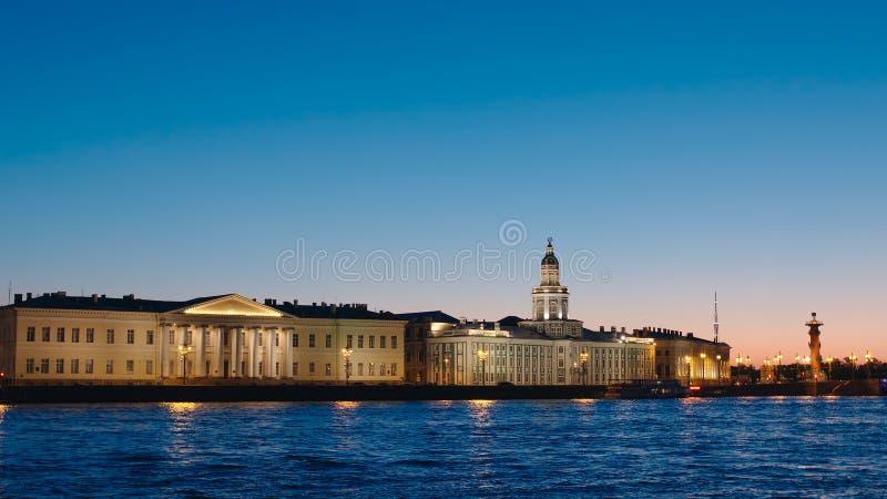 Kunstkamera building and Neva river in White nights. ST. PETERSBURG, RUSSIA - JUNE 16, 2017: Kunstkamera building and Neva river in White nights stock image