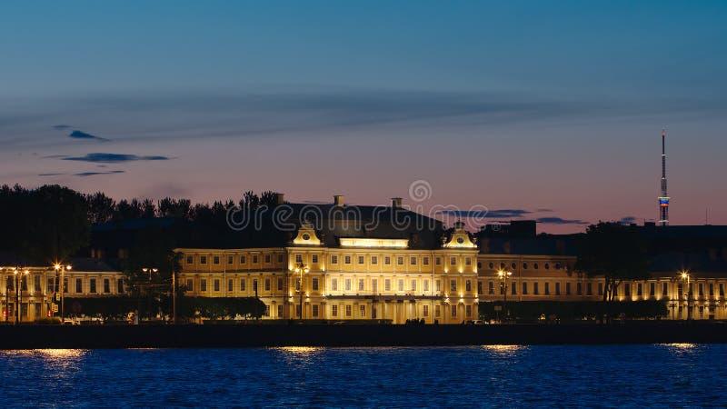 Menshikov Palace and the Neva river in the White nights. ST. PETERSBURG, RUSSIA - JUNE 18, 2017: Menshikov Palace and the Neva river in the White nights stock photo