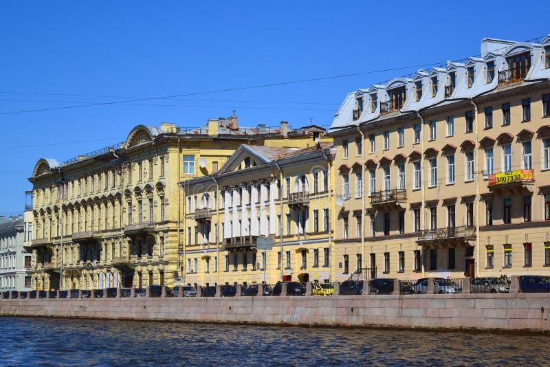 St. Petersburg, Russia - June 04.2017. Old profitable houses on Fontanka River embankment. Number 24, 26, 28. St. Petersburg, Russia - June 04.2017. Old royalty free stock photos