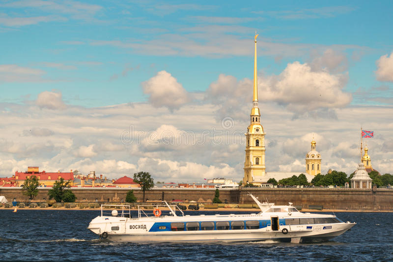 St. Petersburg, Russia - June 28, 2017: Panoramic view of the Peter and Paul Fortress from the Neva River in St. Petersburg royalty free stock photos