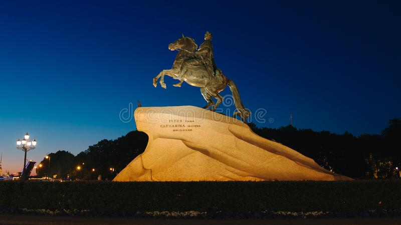 Peter The Great Horseman monument in White nights. ST. PETERSBURG, RUSSIA - JUNE 16, 2017: Peter The Great Horseman monument in White nights royalty free stock images
