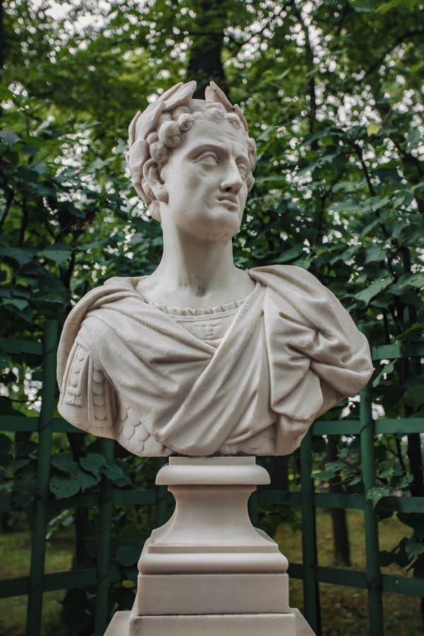 St Petersburg, Russia - June 6, 2019. The sculpture of Sculpture of the Roman Emperor Titus stock photos