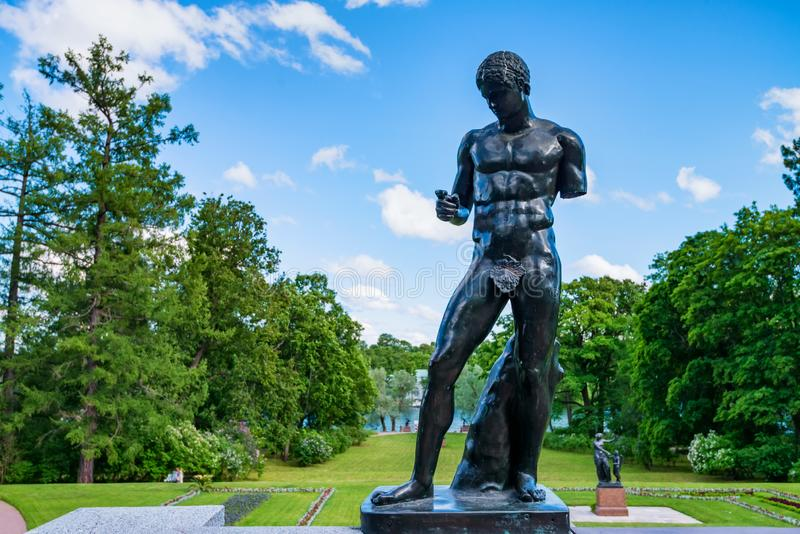ST.PETERSBURG, RUSSIA - 15 JUNE 2015: Statue of antique man in Tsarskoye Selo royalty free stock photography