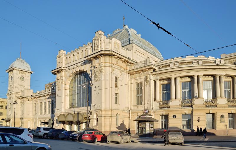 Car Parking in front of the Vitebsk railway station in the rays stock photo