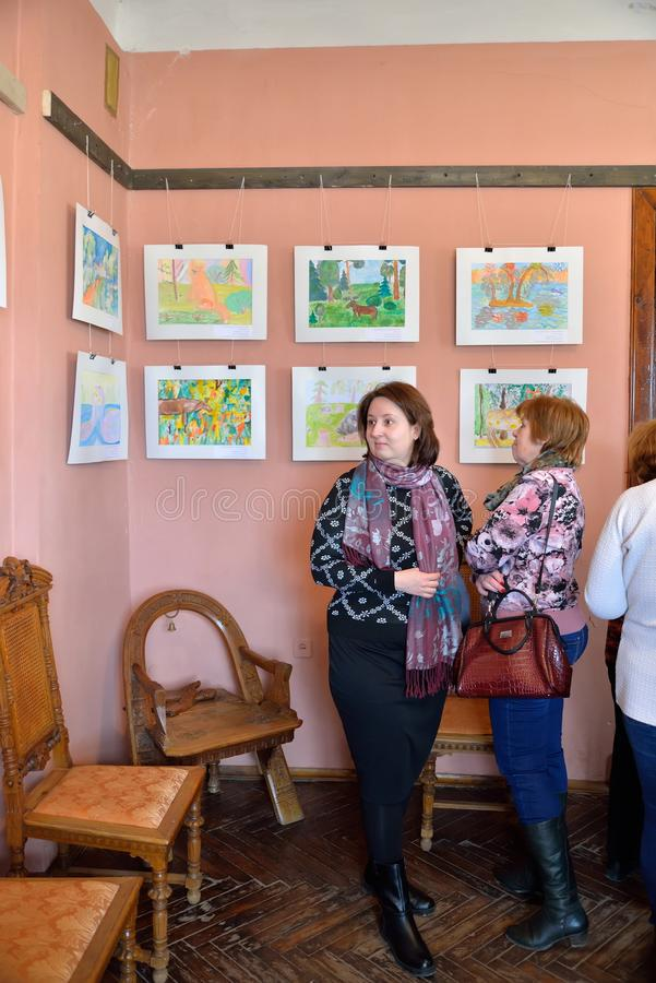 Exhibition of children's drawings in the Museum-estate of the ar. ST.PETERSBURG, RUSSIA - MARCH 03, 2017: Exhibition of children's drawings in the Museum-estate stock image