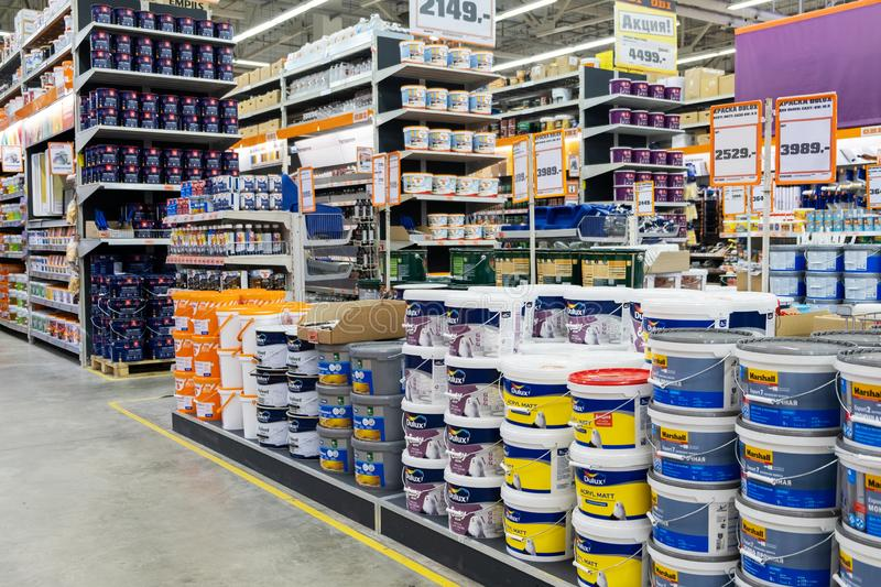 ST. PETERSBURG, RUSSIA - MARCH, 2019: hardware store, the shelves of varnishes and paints for your home royalty free stock photos