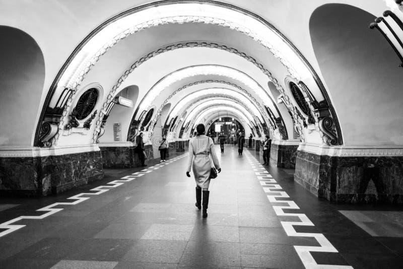 Inside Ploshchad Vosstaniya metro station in Saint Petersburg, Russia. Black and white stock images