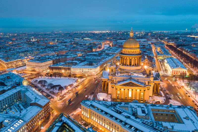 ST. PETERSBURG, RUSSIA - MARCH, 2019: Saint Isaac`s Cathedral in Saint Petersburg Aerial View of the city royalty free stock photos