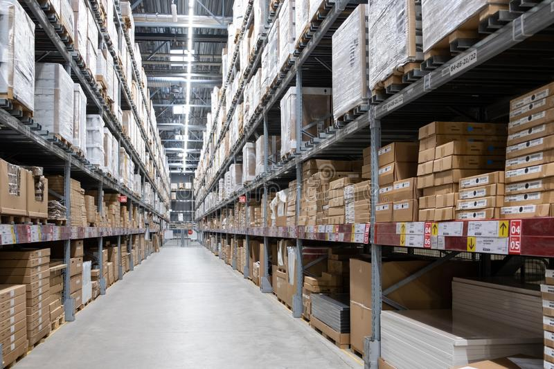 ST. PETERSBURG, RUSSIA - MARCH, 2019: Warehouse storage in an IKEA store. Founded in 1943, IKEA is the world\'s largest furniture stock photo