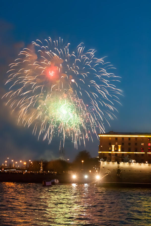 ST. PETERSBURG, RUSSIA - MAY 09: festive salute over Neva,RUSSIA - MAY 09 2017. stock photo