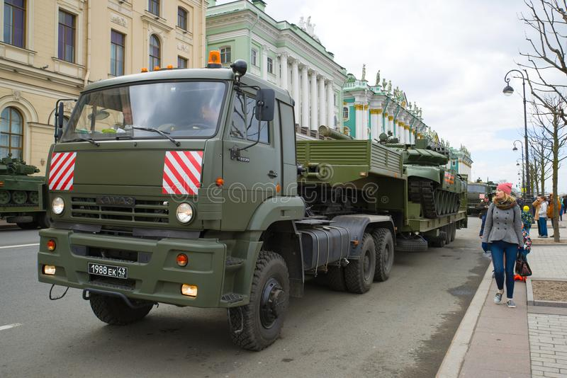 Military trailer KamAZ-65225 with the tank on Palace Embankment royalty free stock photo