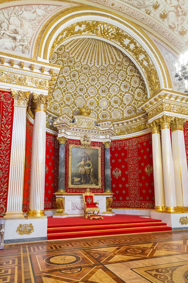 St. Petersburg, Russia - May 12, 2017: Small Throne Room of Winter Palace, also known as Peter Great Memorial Hall, was stock images