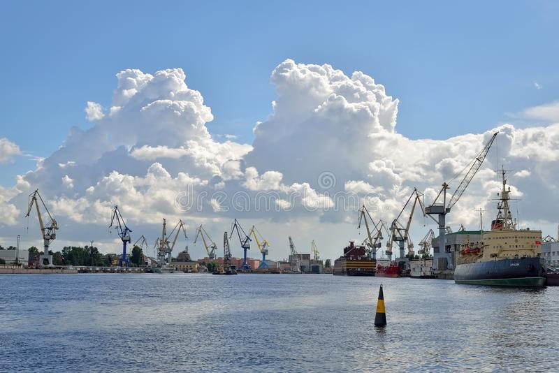 View of the icebreaker Krasin and river port on the river Neva i royalty free stock photos